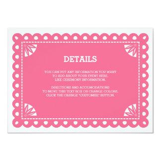 Papel Picado Insert Card - Pink 11 Cm X 16 Cm Invitation Card