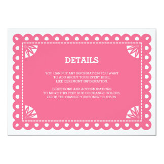 Papel Picado Insert Card - Pink 11 Cm X 16 Cm Invitation Card