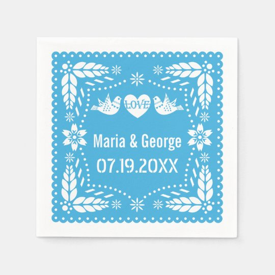 Papel picado love birds blue wedding fiesta disposable