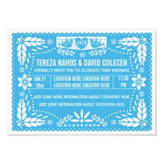 Papel picado love birds blue wedding 5x7 paper invitation card
