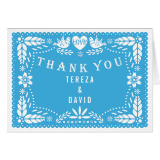 Papel picado love birds blue wedding Thank You Card