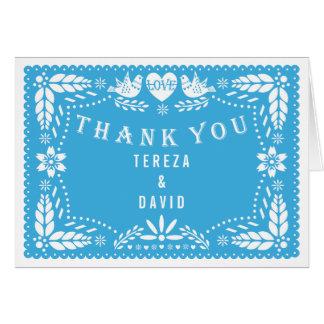 Papel picado love birds blue wedding Thank You Note Card