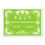 Papel picado love birds green wedding RSVP reply 9 Cm X 13 Cm Invitation Card