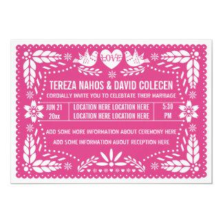 Papel picado love birds hot pink wedding 13 cm x 18 cm invitation card
