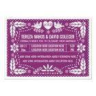 Papel picado love birds purple wedding card