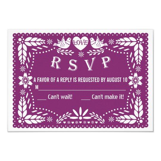 Papel picado love birds purple wedding RSVP reply