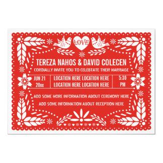 Papel picado love birds red wedding 13 cm x 18 cm invitation card