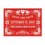 Papel picado love birds red wedding Save the Date Postcard