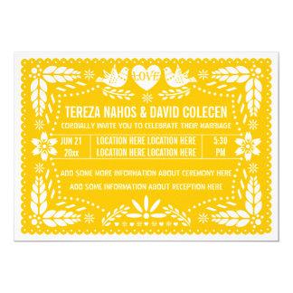 Papel picado love birds yellow wedding card