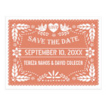 Papel picado lovebirds peach wedding Save the Date
