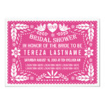 Papel picado lovebirds pink wedding bridal shower 13 cm x 18 cm invitation card