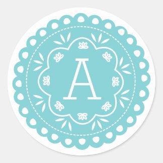 Papel Picado Monogram Stickers - Blue