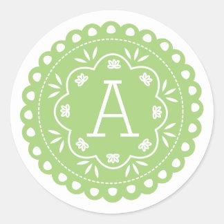 Papel Picado Monogram Stickers - Green