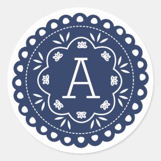 Papel Picado Monogram Stickers - Navy