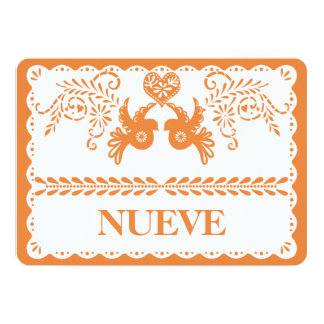 Papel Picado Nueve Nine Table Number Orange Fiesta