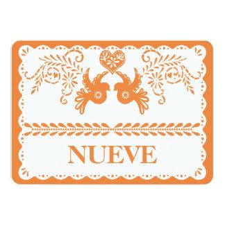 Papel Picado Nueve Nine Table Number Orange Fiesta Card