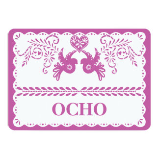 Papel Picado Ocho Eight Table Number Gold Fiesta Card