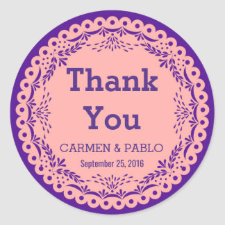 Papel Picado Pink and Purple Wedding Favour Round Sticker