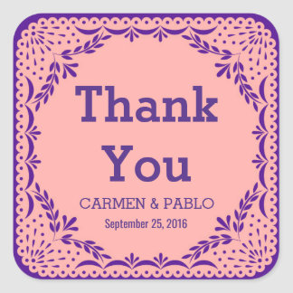 Papel Picado Pink and Purple Wedding Favour Square Sticker