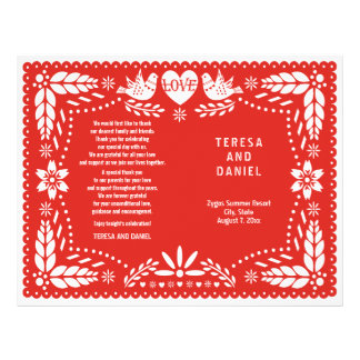 Papel Picado red wedding fiesta folded program 21.5 Cm X 28 Cm Flyer