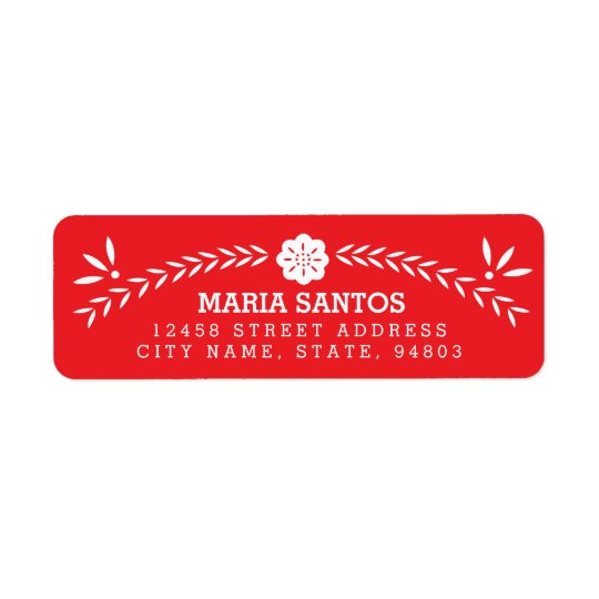 Papel Picado Return Address Labels - Red