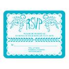 Papel Picado RSVP Blue Pool Fiesta Wedding Banner Card