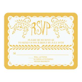 Papel Picado RSVP Gold Fiesta Wedding Banner 11 Cm X 14 Cm Invitation Card