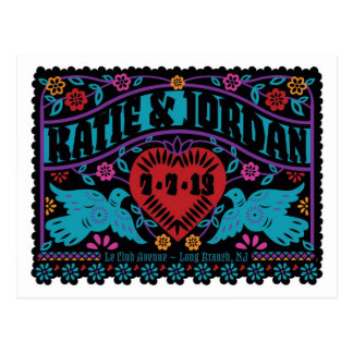 Papel Picado Style Lovebirds Save the Date Postcards
