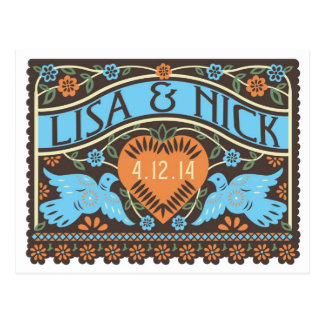 Papel Picado Style Lovebirds Save the Date Post Card
