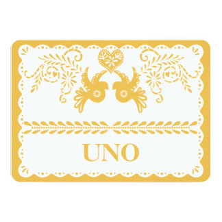 Papel Picado Table Number Gold Fiesta Dove Heart