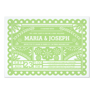 Papel Picado Wedding Invite - Green