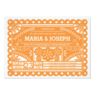 Papel Picado Wedding Invite - Orange