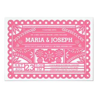 Papel Picado Wedding Invite - Pink