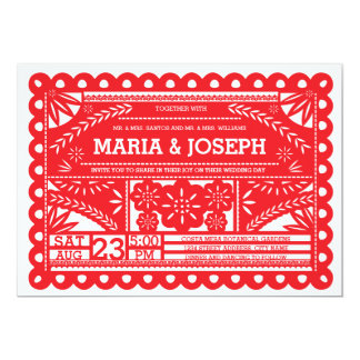 Papel Picado Wedding Invite - Red
