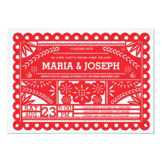"Papel Picado Wedding Invite - Red 5"" X 7"" Invitation Card"
