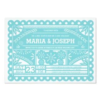 Papel Picado Wedding Invite - Tiffany Blue