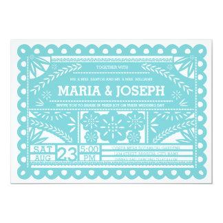 Papel Picado Wedding Invite - Tiffany Blue