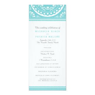 Papel Picado Wedding Program - Blue 10 Cm X 24 Cm Invitation Card