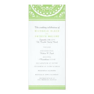 Papel Picado Wedding Program - Green 10 Cm X 24 Cm Invitation Card