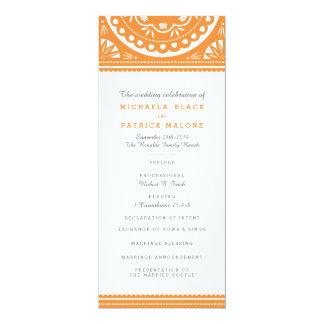 Papel Picado Wedding Program - Orange 10 Cm X 24 Cm Invitation Card