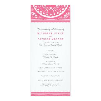 Papel Picado Wedding Program - Pink 10 Cm X 24 Cm Invitation Card