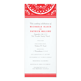 Papel Picado Wedding Program - Red