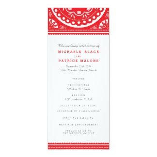 Papel Picado Wedding Program - Red 10 Cm X 24 Cm Invitation Card
