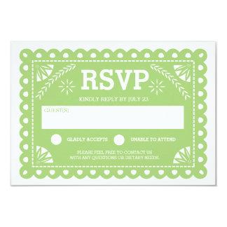 Papel Picado Wedding RSVP Green 9 Cm X 13 Cm Invitation Card