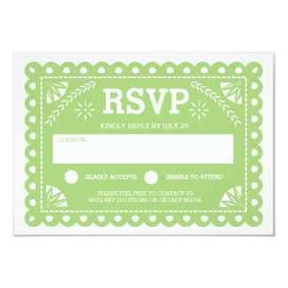 Papel Picado Wedding RSVP Green Card
