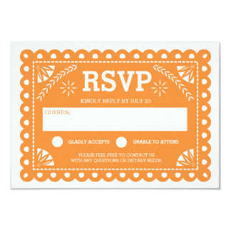 Papel Picado Wedding RSVP Orange Card