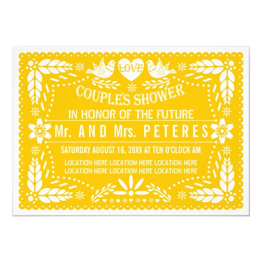 Papel picado yellow wedding couples shower card