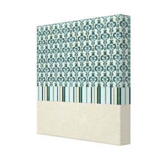 paper04 SCRAPBOOKING LIGHT BLUE CREAM TAN SCROLL D Stretched Canvas Prints