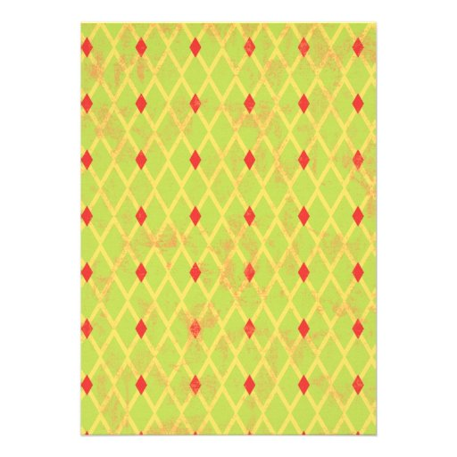 paper084 DIAMOND ARGYLE SPRING GREEN YELLOW RED PA Invite