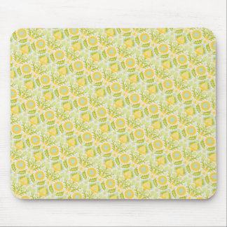 PAPER088 YELLOW GREEN CREAM FLORAL FLOWERS PATTERN MOUSE PAD